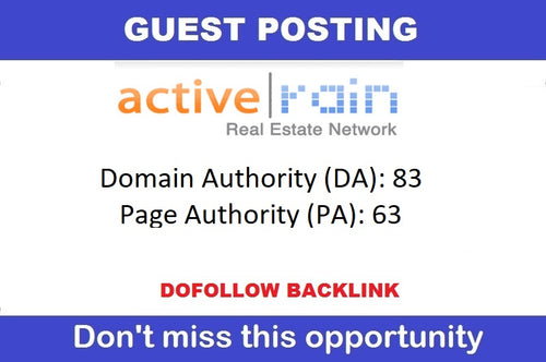 Guest Post on ActiveRain.com - DA 85