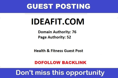 Write & Publish on Ideafit.com Health & fitness blog DA76