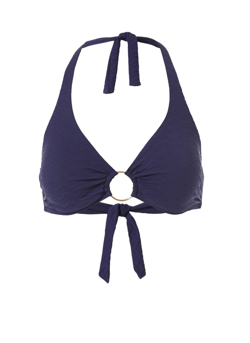 Brussels Navy Zigzag Halterneck Ring Supportive Bikini Top