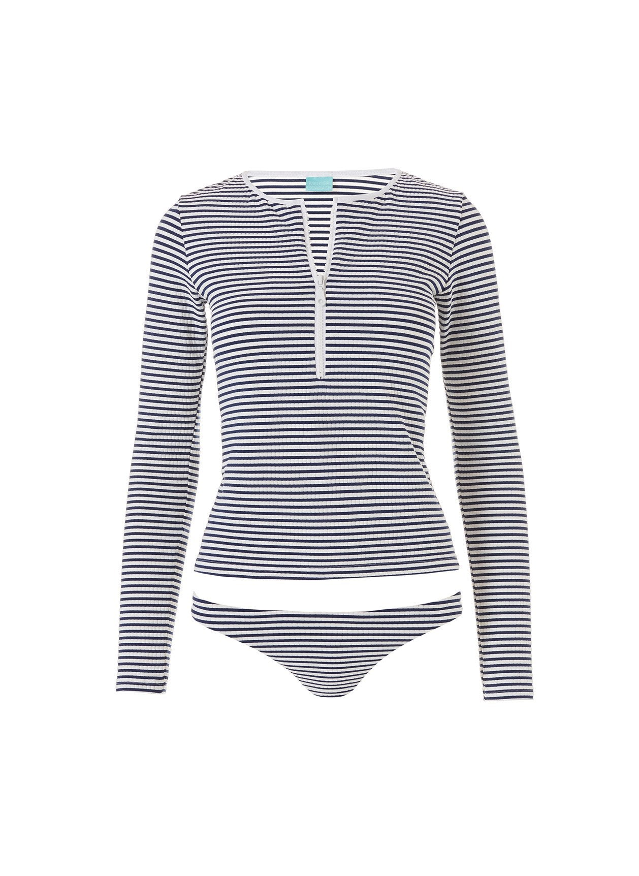 Cali Nautical Navy Long Sleeve Rash Vest Bikini 2020