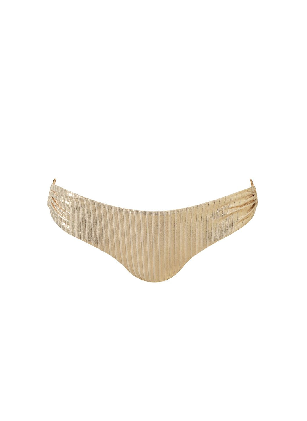 Evita Gold Ribbed Bikini Bottom