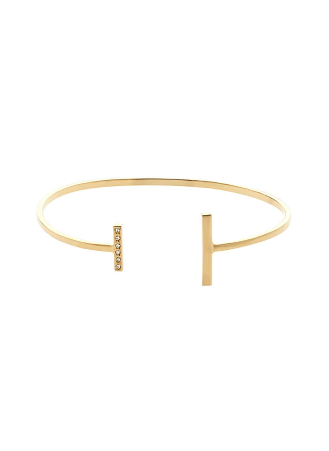 Gold Swarovski T Bar Bangle