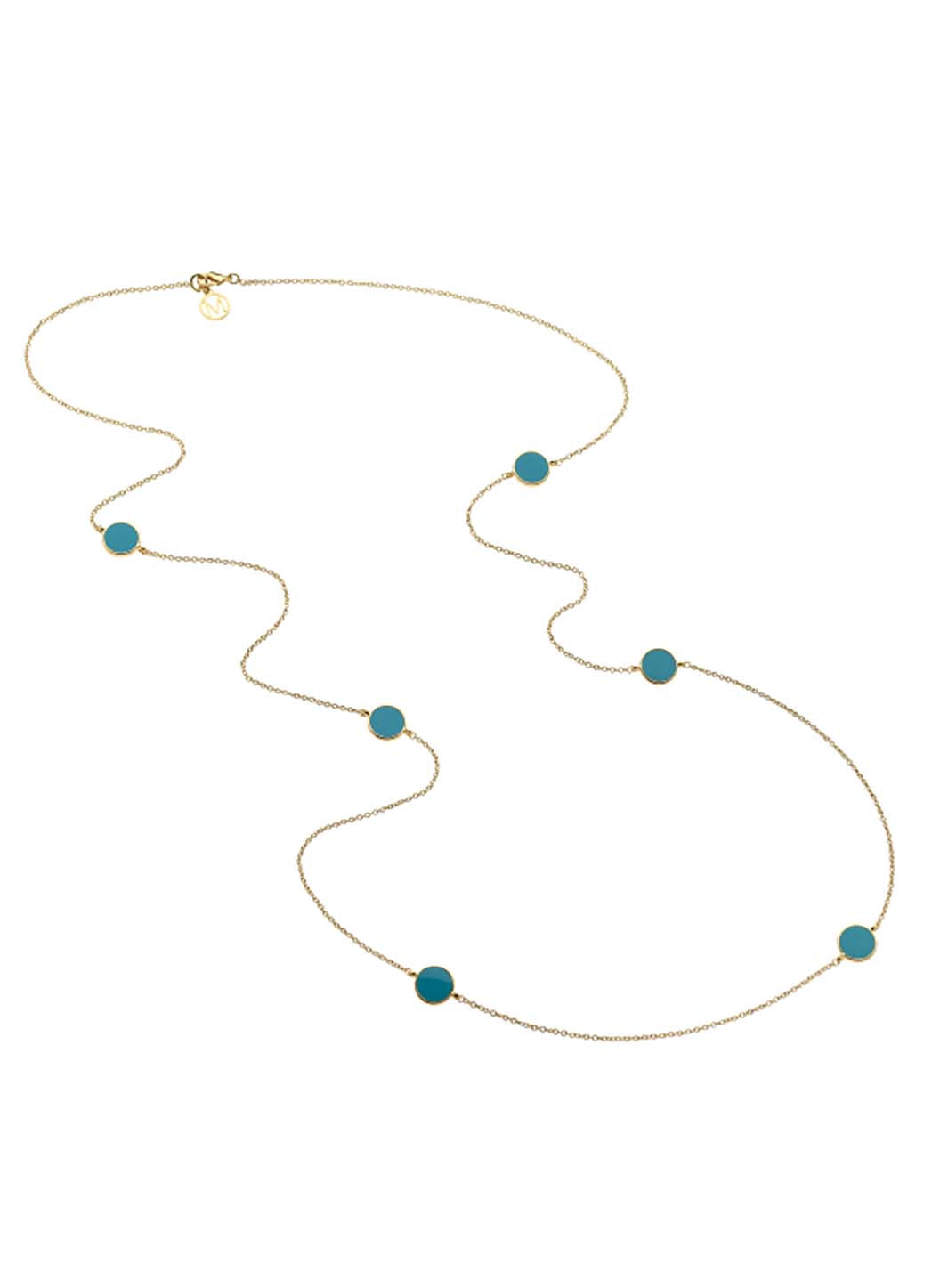 Gold Turquoise Enamel Long Necklace