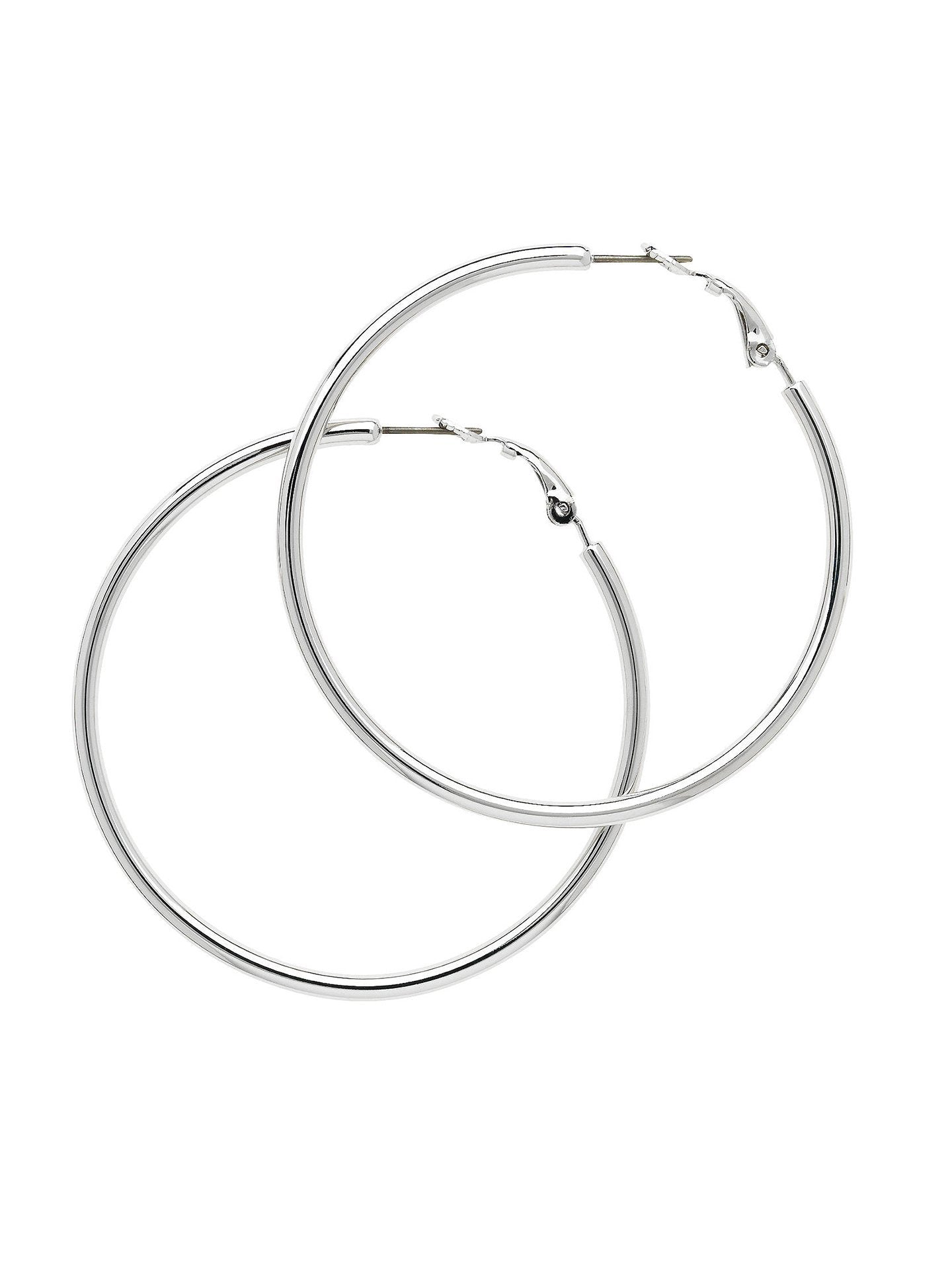 Rhodium Medium Hoop Earrings