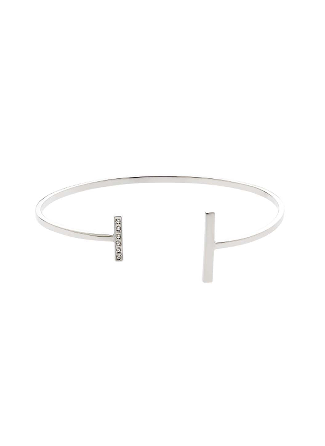 Rhodium Swarovski T Bar Bangle