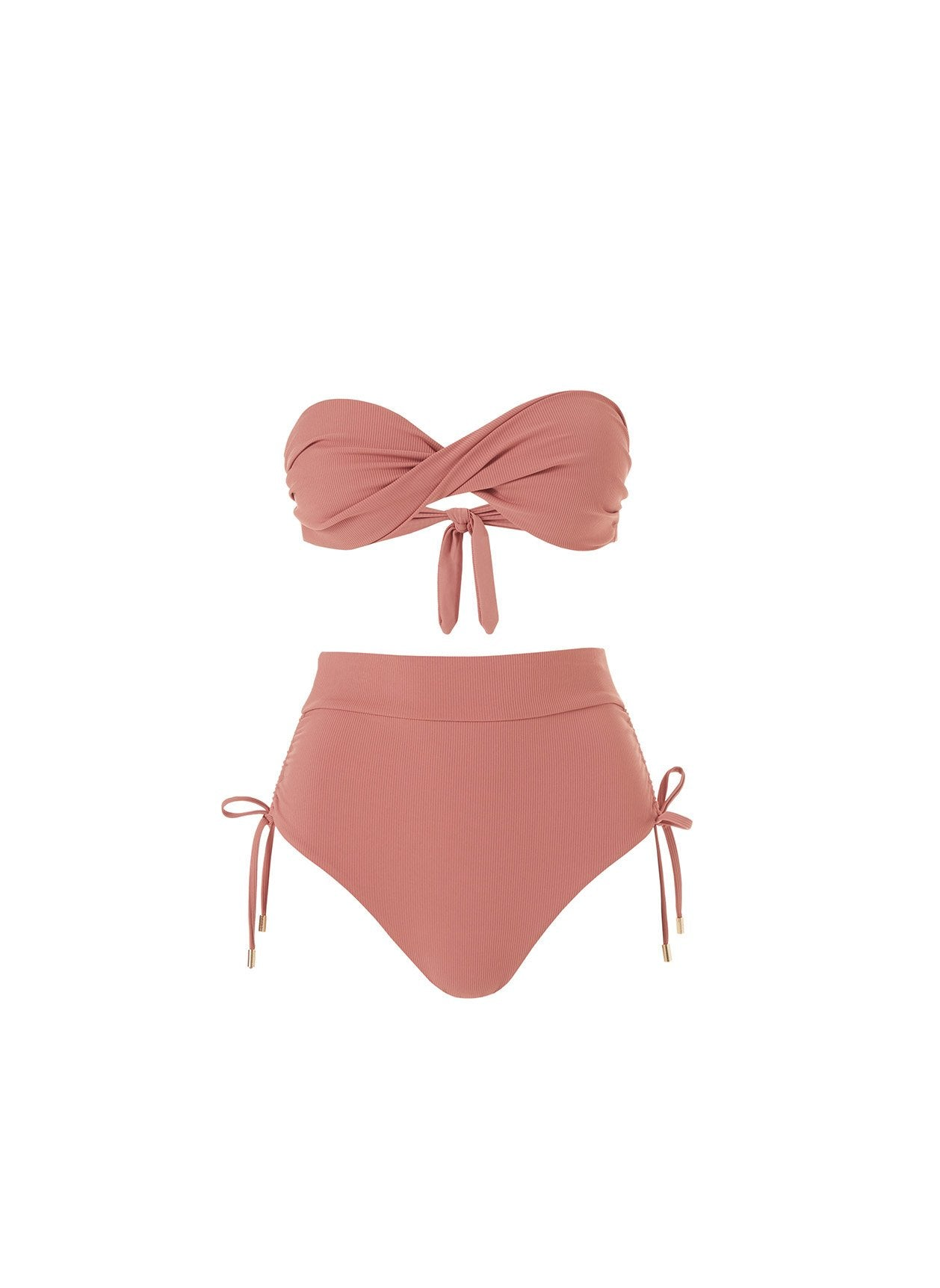 Thailand Dusty Rose Ribbed Rouched High Waisted Bandeau Bikini 2020
