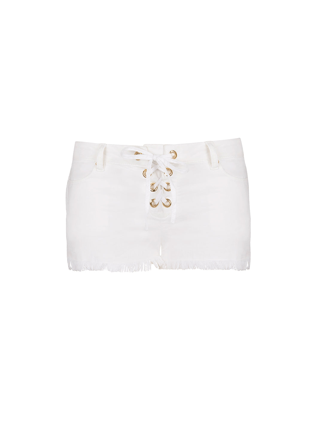 Alexi White Denim Lace-Up Shorts