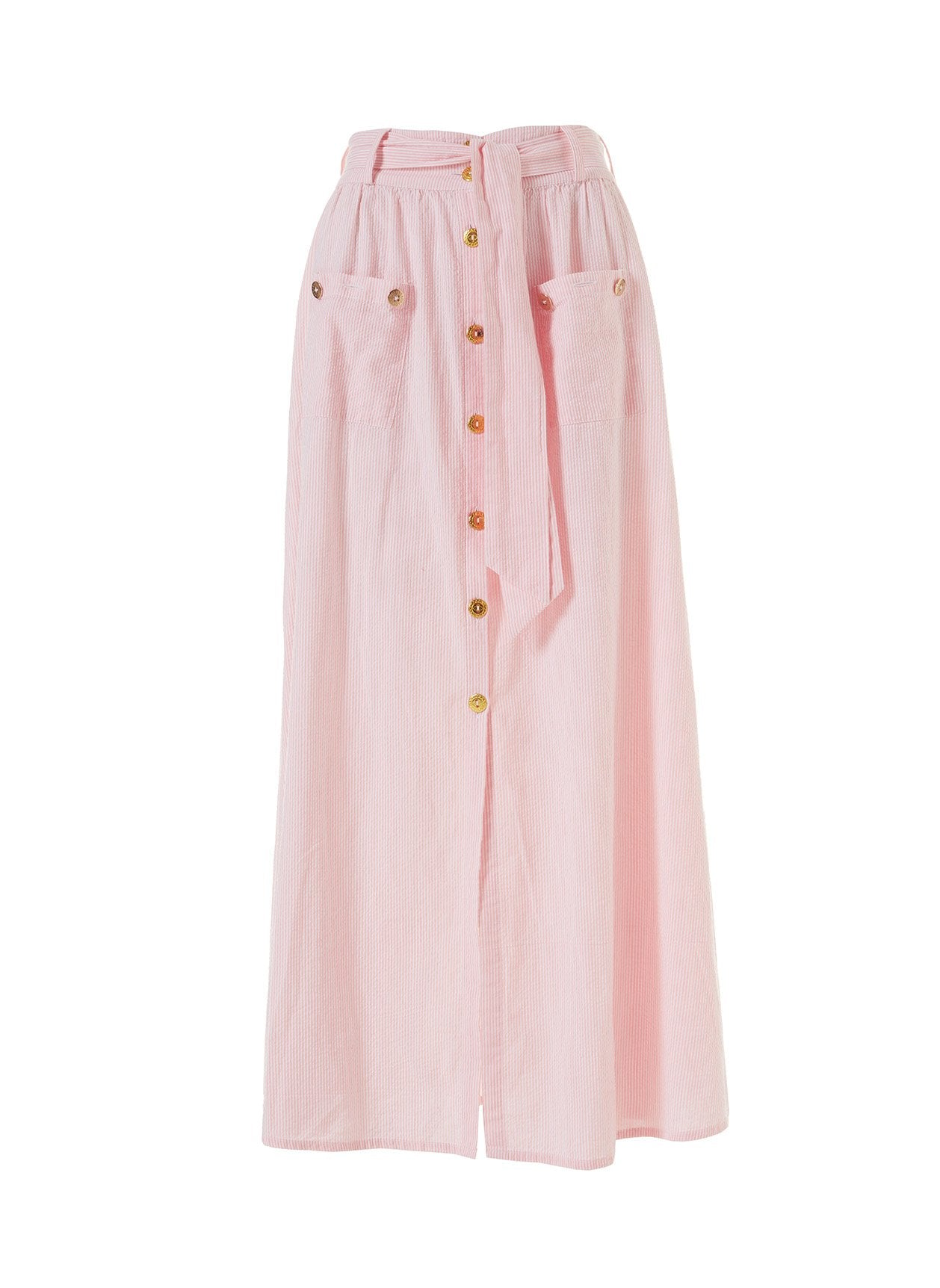 Alisa Blush Stripe Button Down Belted Maxi Skirt 2020