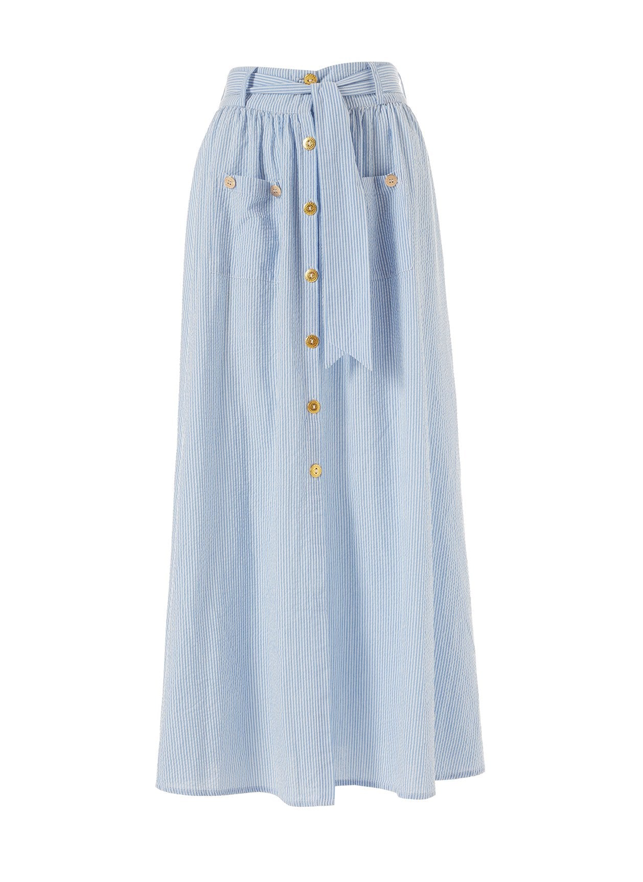 Alisa Denim Stripe Button Down Belted Maxi Skirt 2020