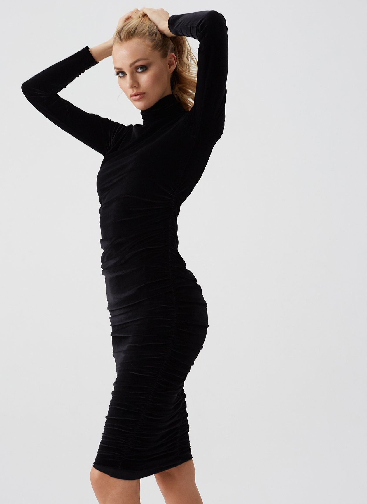 Annette Black Midi Dress