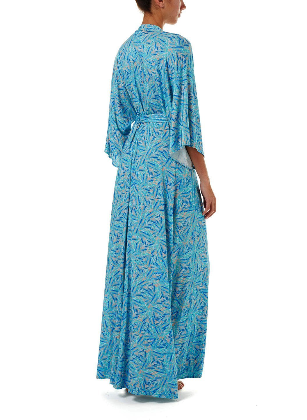 annaelle blue leaf longsleeve belted maxi dress 2019 B