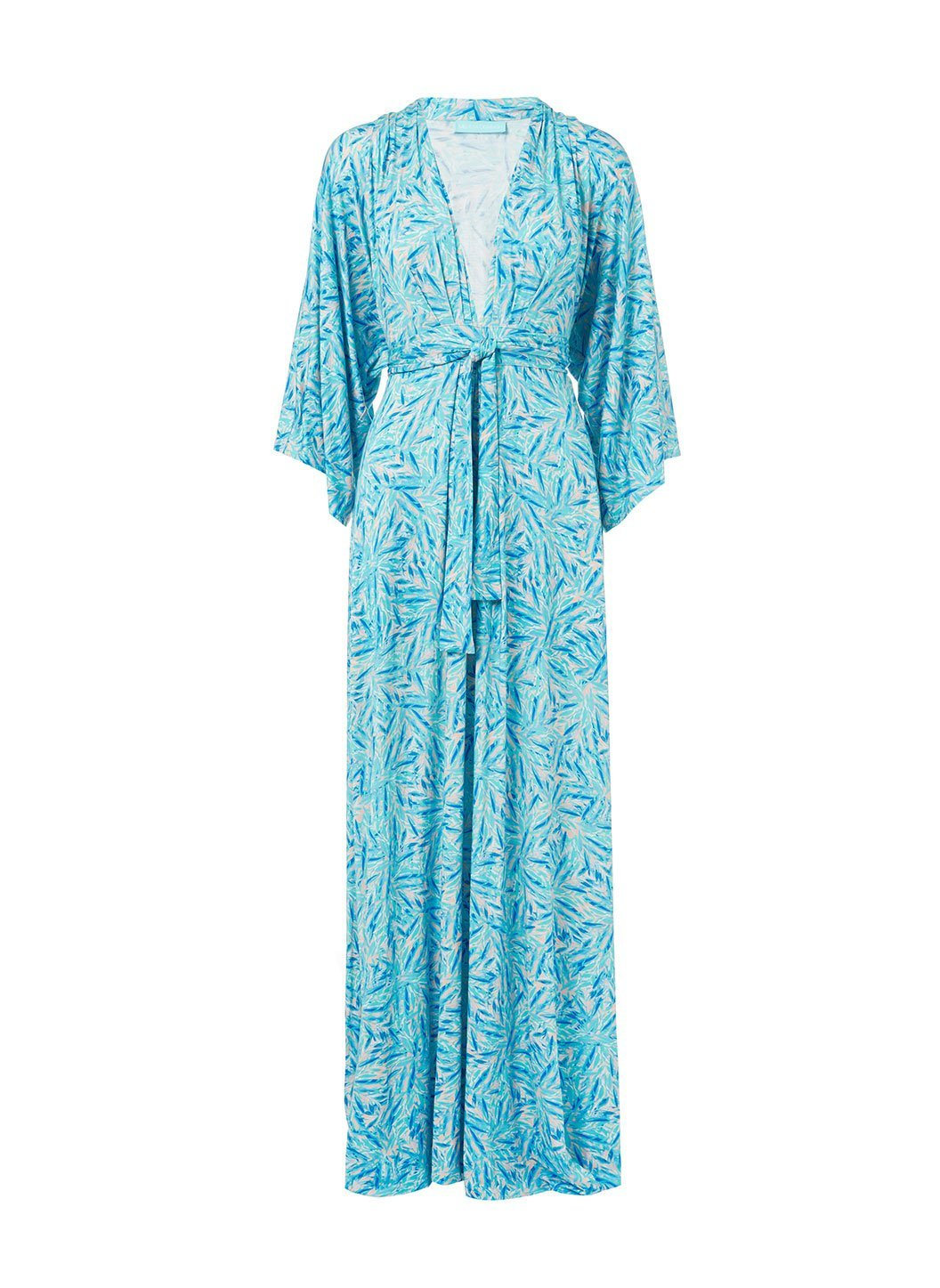 annaelle blue leaf longsleeve belted maxi dress 2019