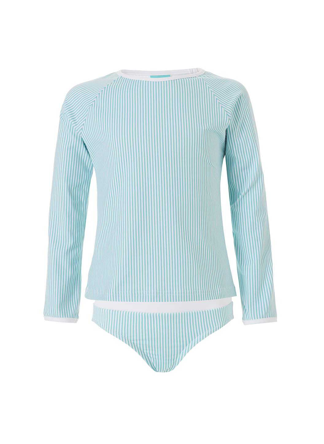 Baby Dakota Mint Stripe Long Sleeve Rash Vest