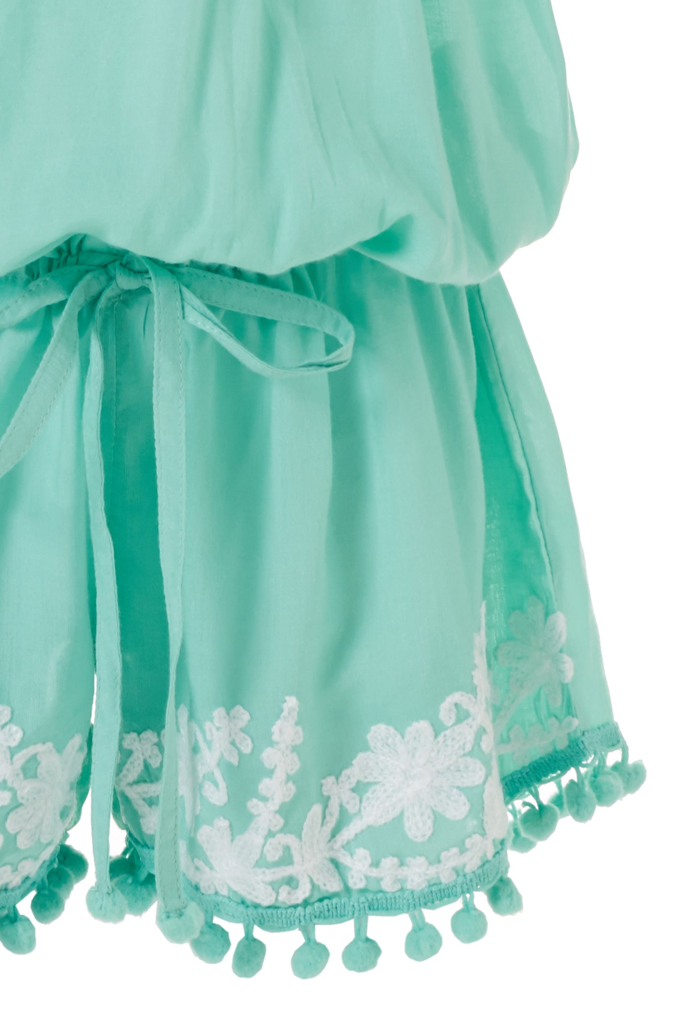 Baby Eisha Mint/White Embroidered Playsuit