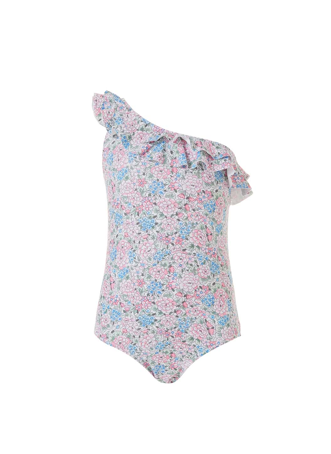 Baby Kiera Floral Blue One Shoulder Frill Swimsuit