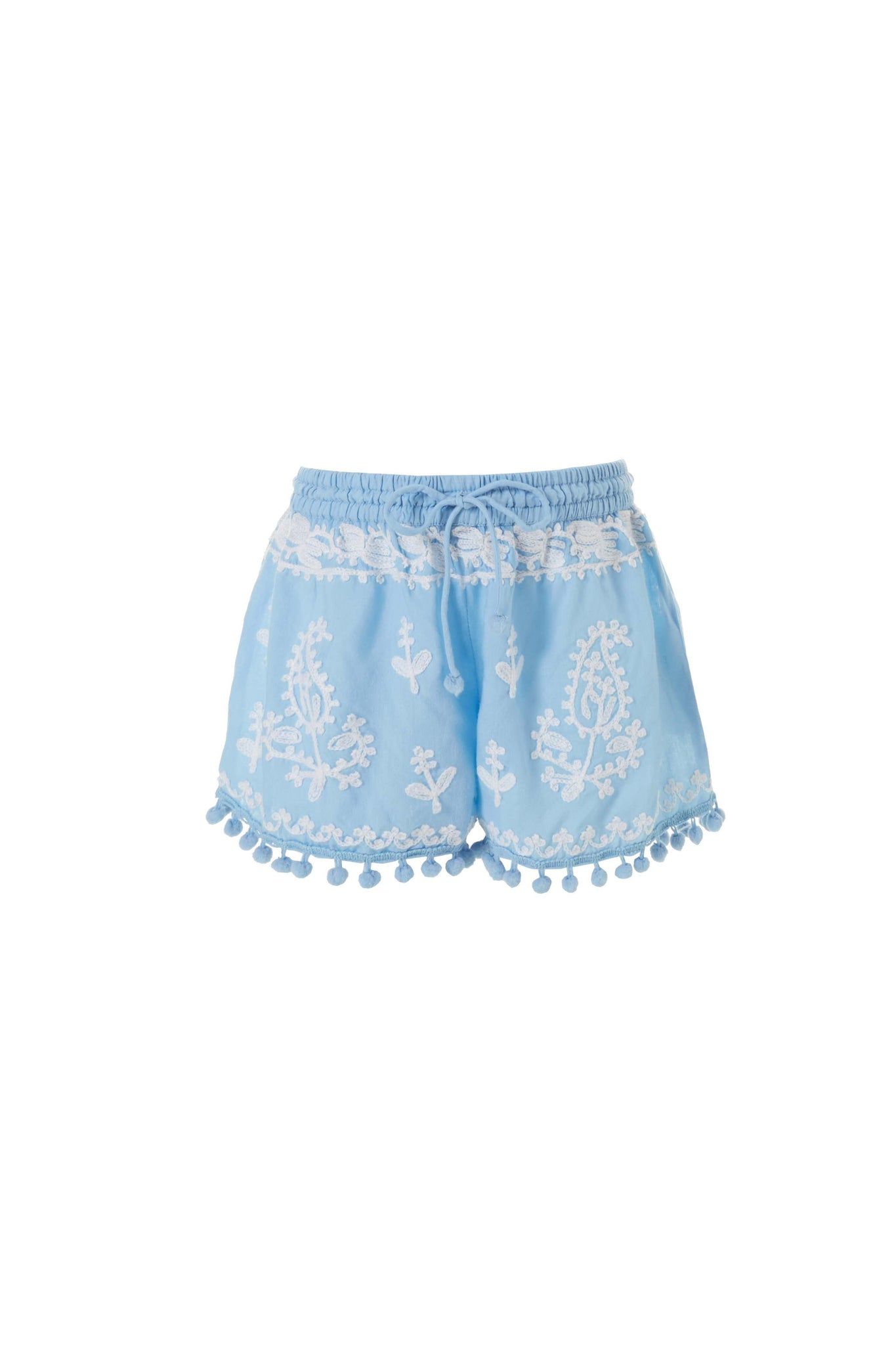 Baby Sienna Embroidered Beach Shorts Cornflower/White