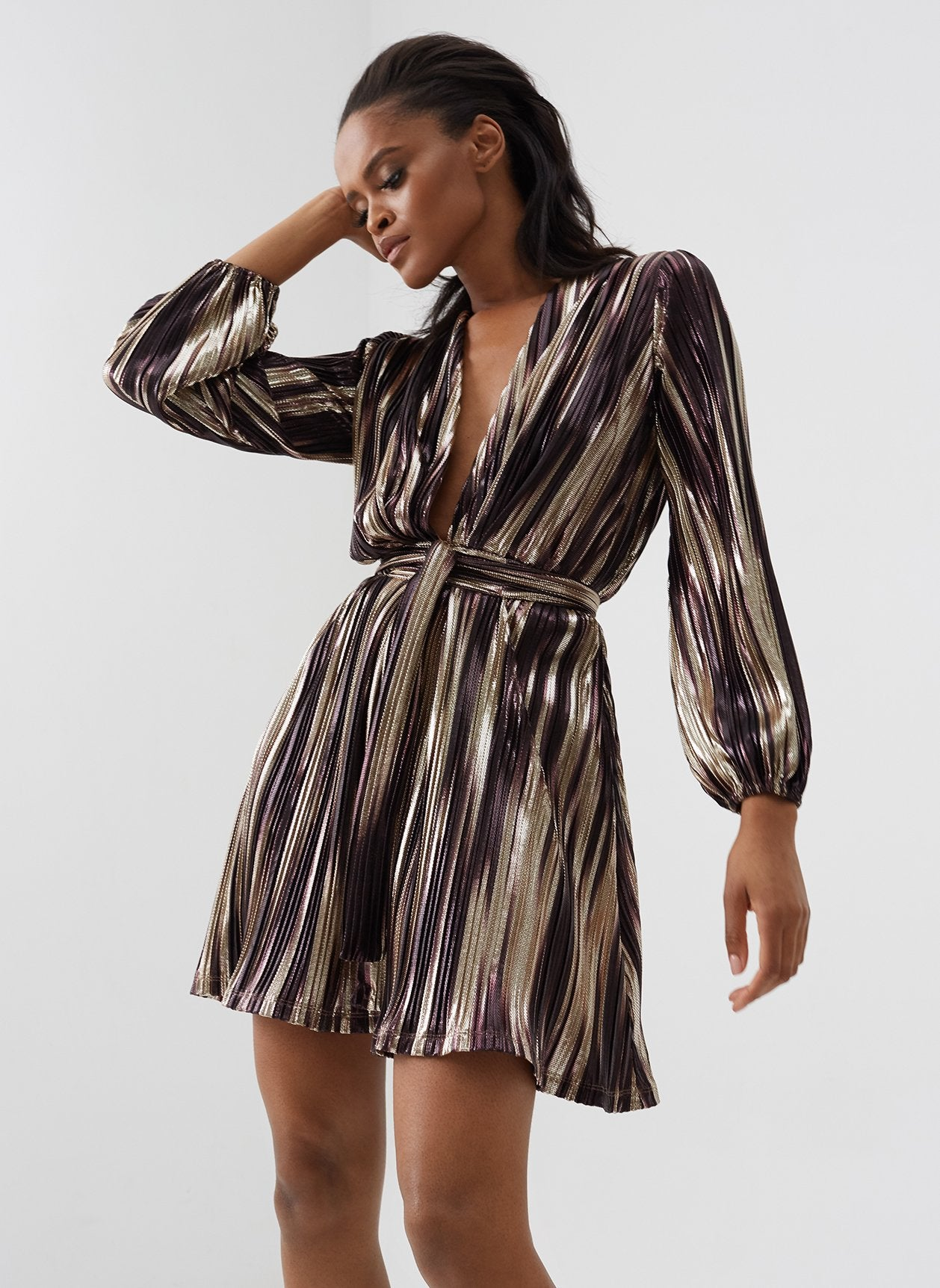 Banks Caramel Stripe Mini Dress