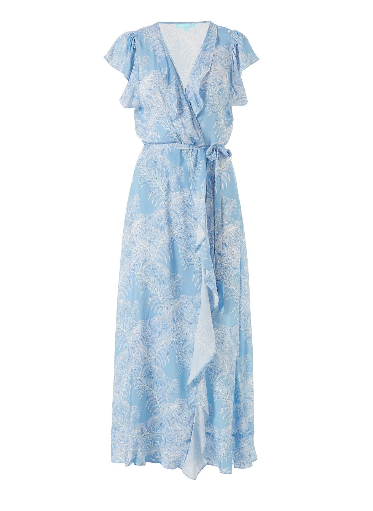 Brianna Tropical Blue Frill Wrap Front Maxi Dress 2020