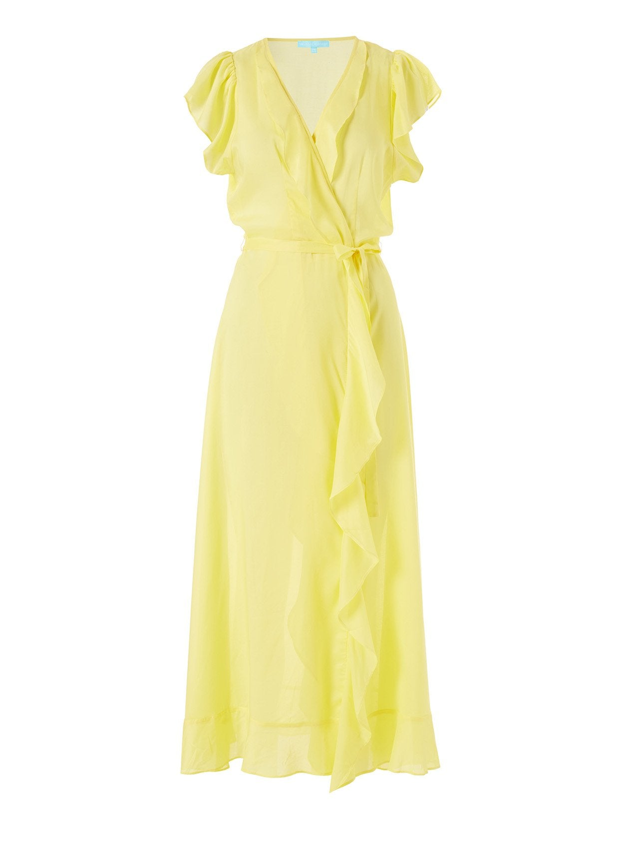 Brianna Yellow Frill Wrap Front Maxi Dress 2020