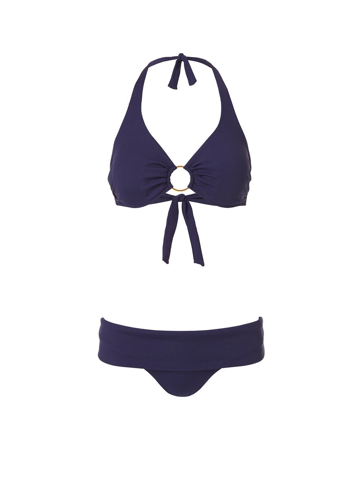 Brussels Navy Ribbed Supportive Underwire Halterneck Bikini 2020