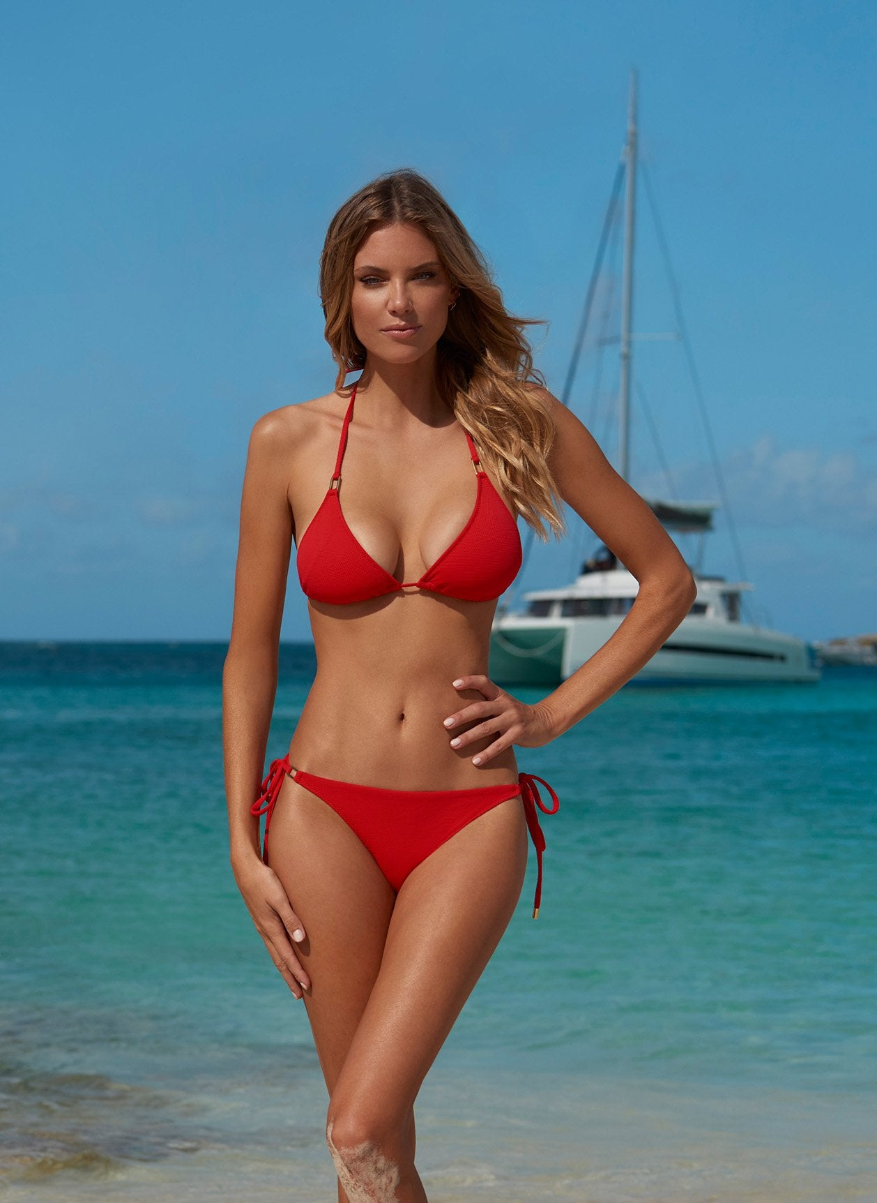 cancun red triangle bikini