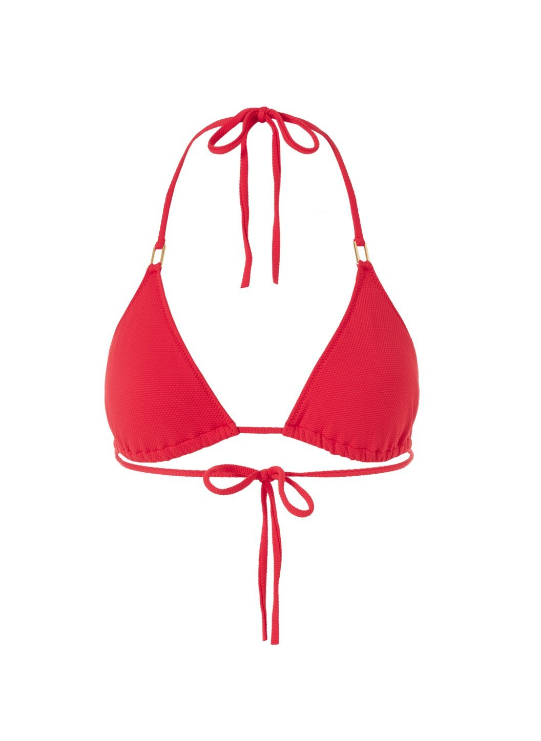 cancun red pique bikini top