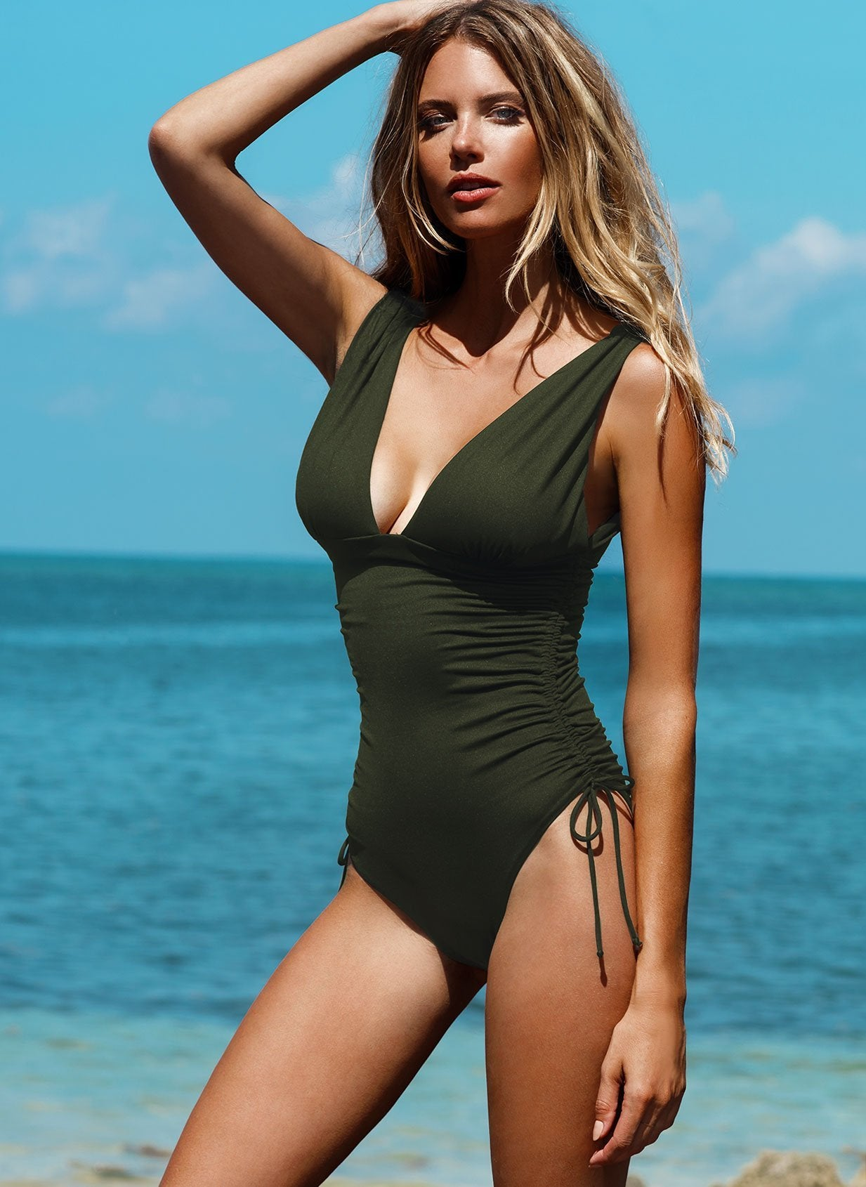 Chile Olive Swimsuit Lifestyle