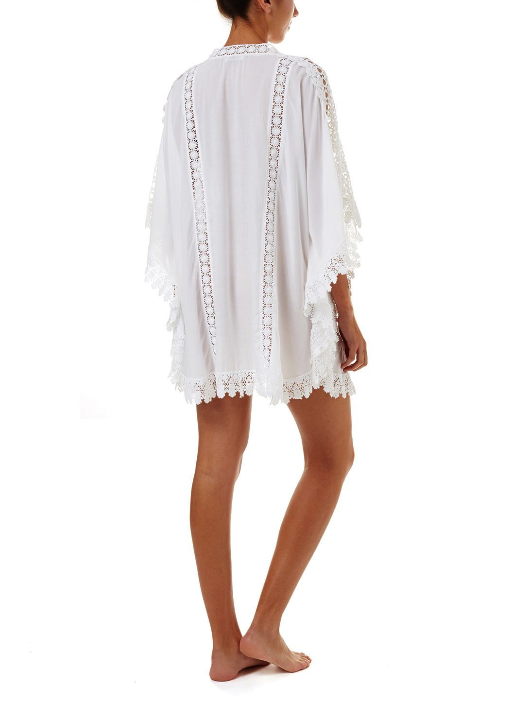 cindy white lace embroidered vneck short kaftan 2019 B