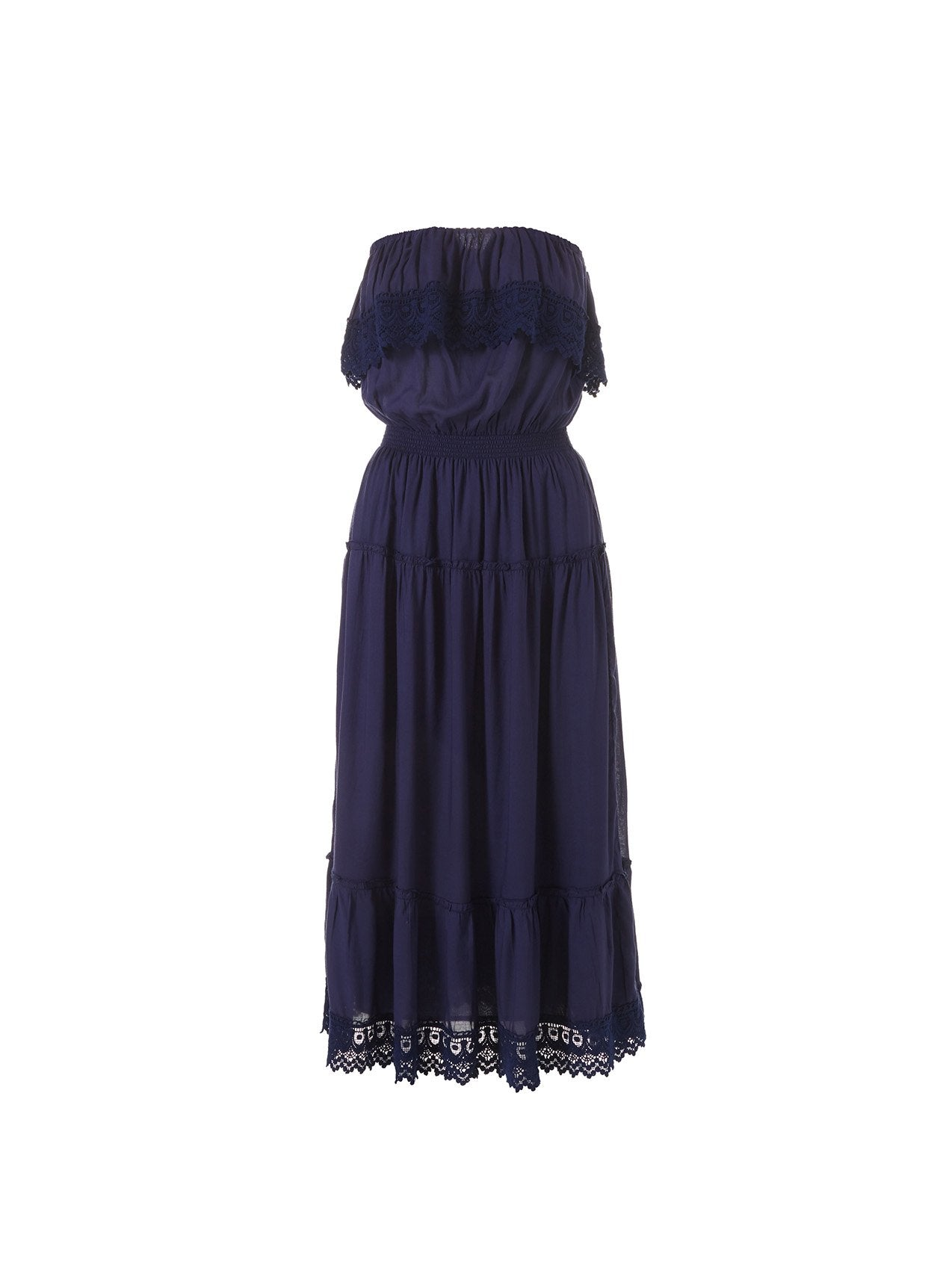 Clara Navy Frill Embroidered Midi Dress 2020