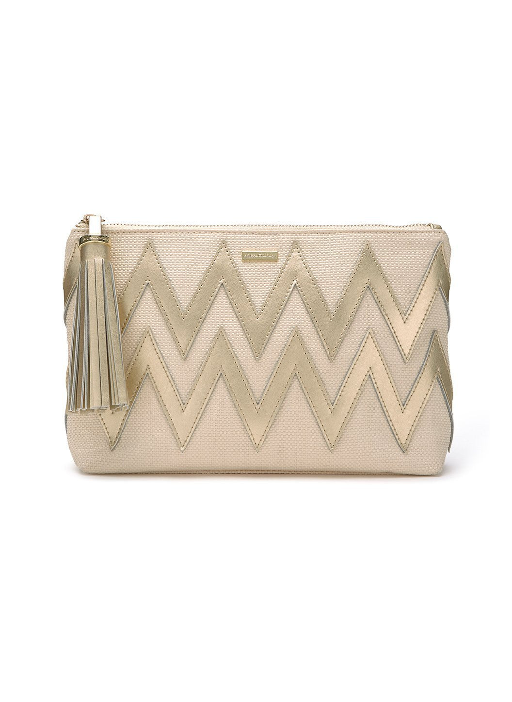 crete zigzag clutch bag natural gold 2019
