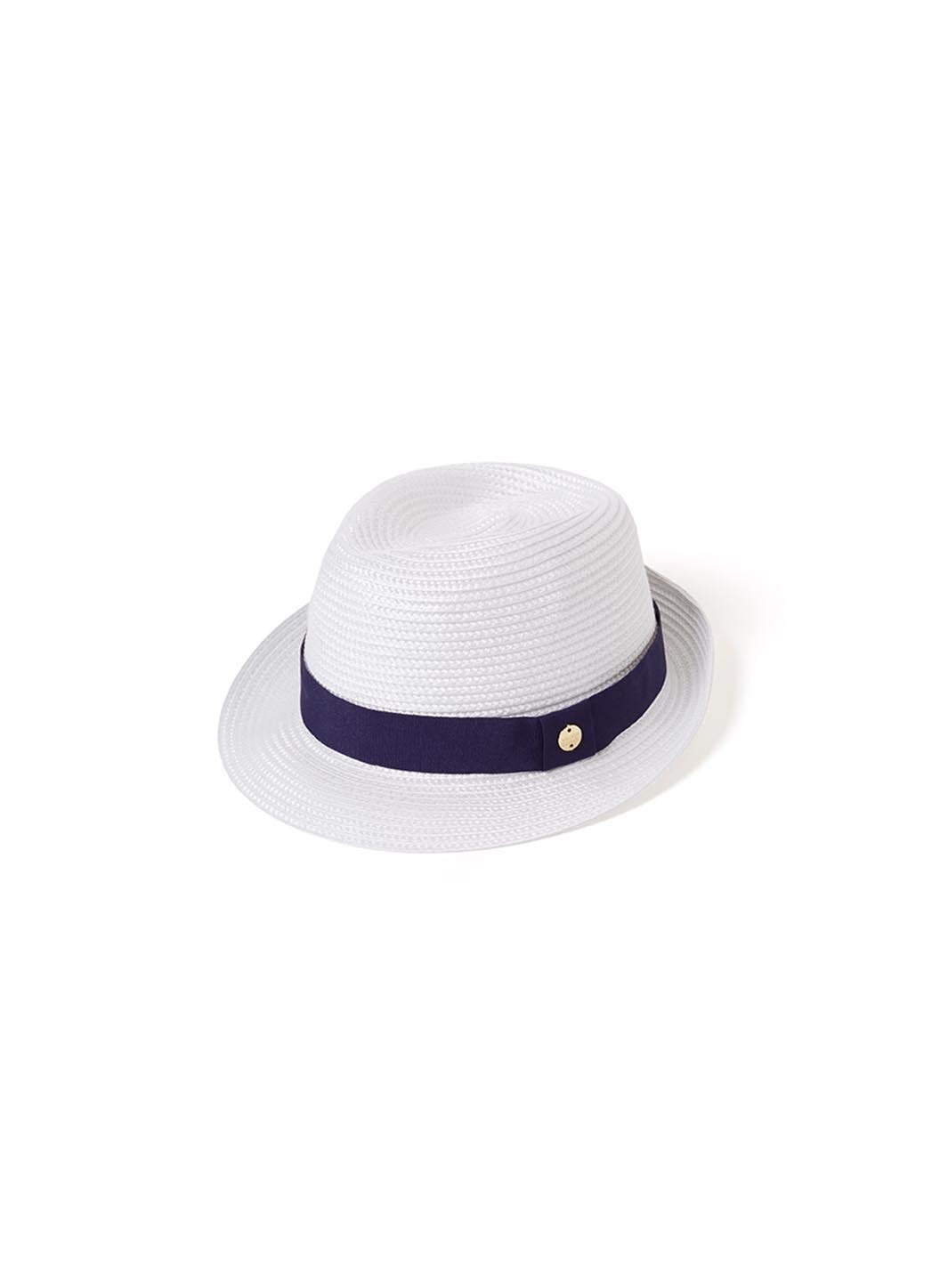 Eva Hat White Navy