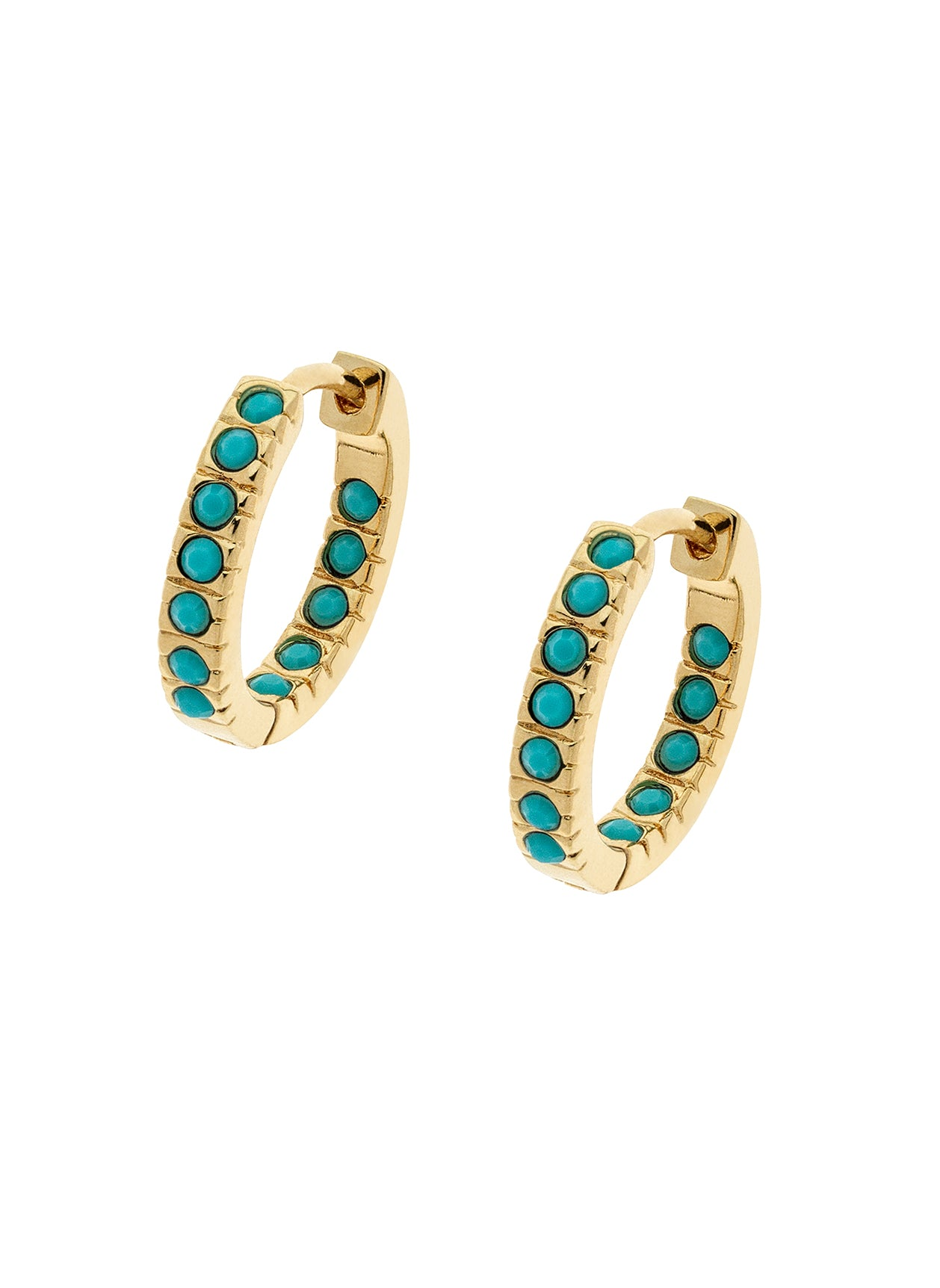 Turquoise Swarovski Crystal Gold Hoop Earrings