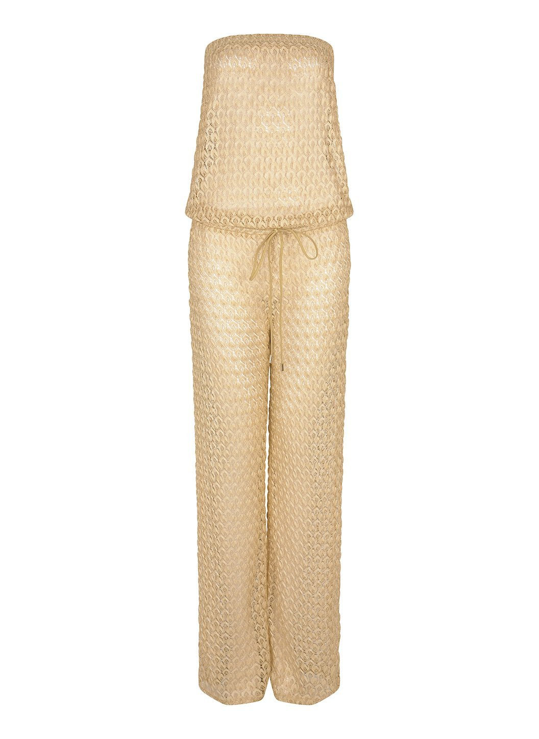 grace gold knit bandeau jumpsuit 2019