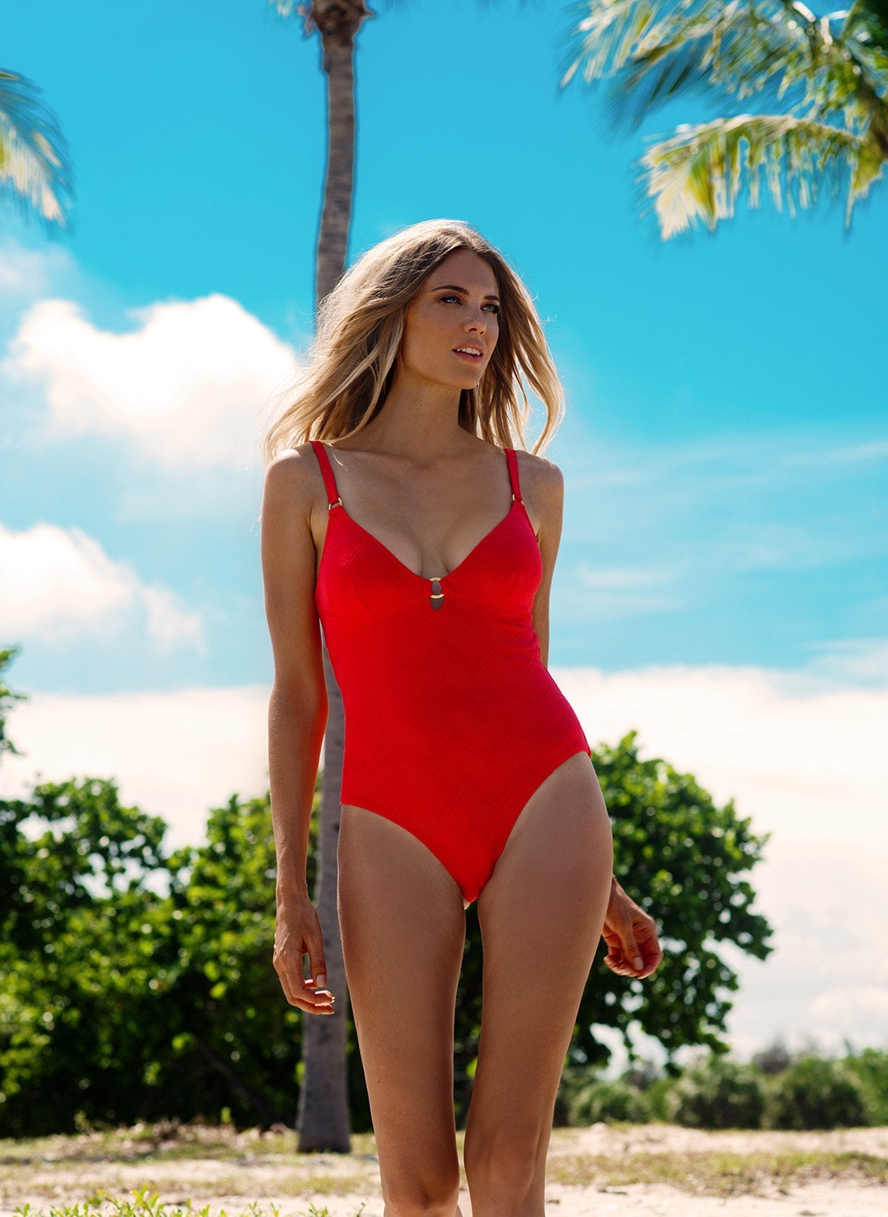 Havana Red Zigzag Swimsuit Lifestyle