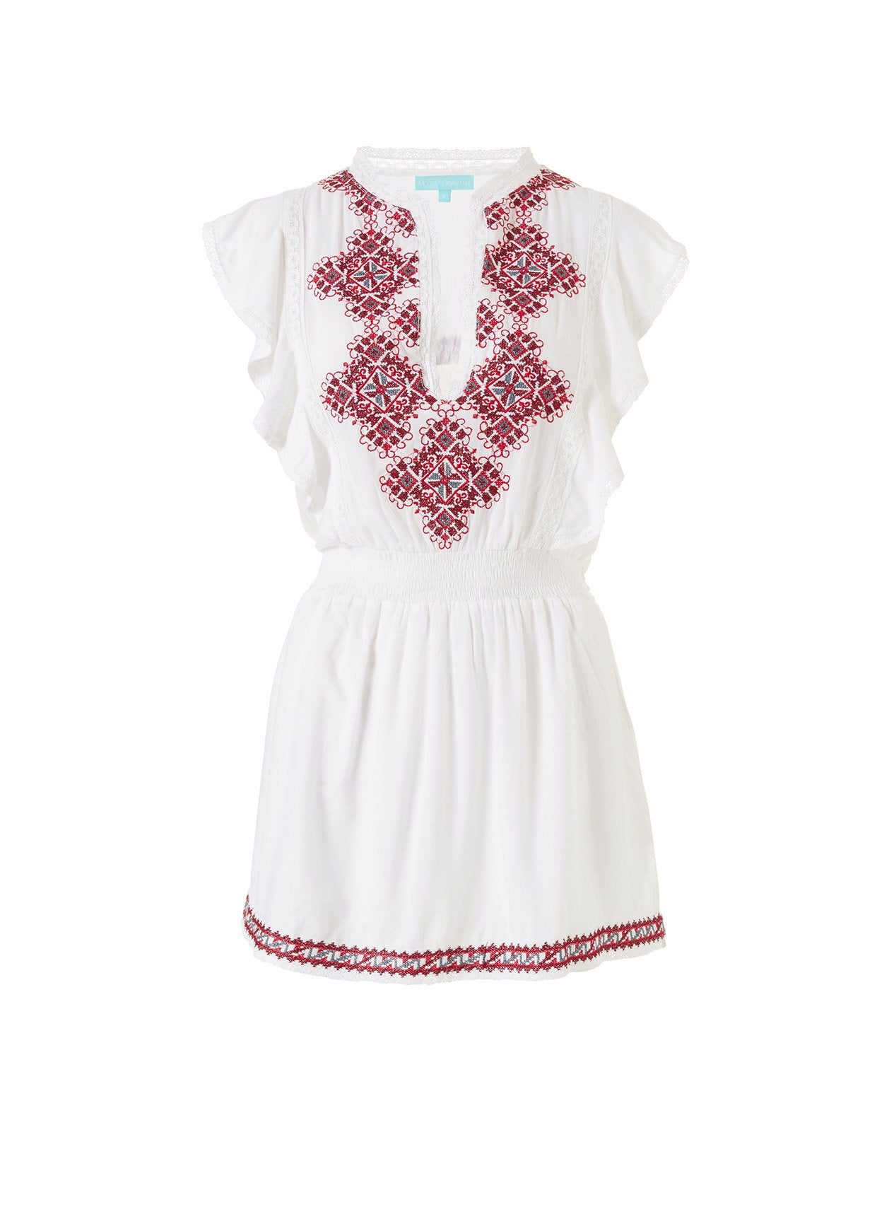 Immy White/Red Short Dress