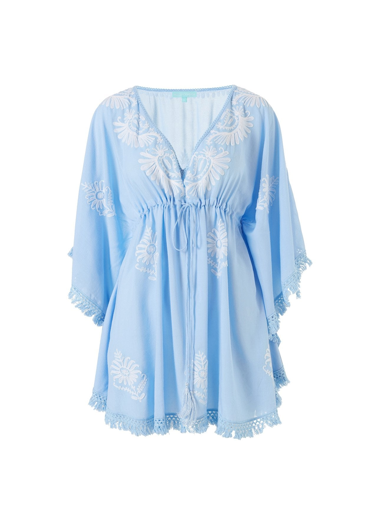 Irene Cornflower/White Classic Embroidered V-Neck Short Kaftan 2020