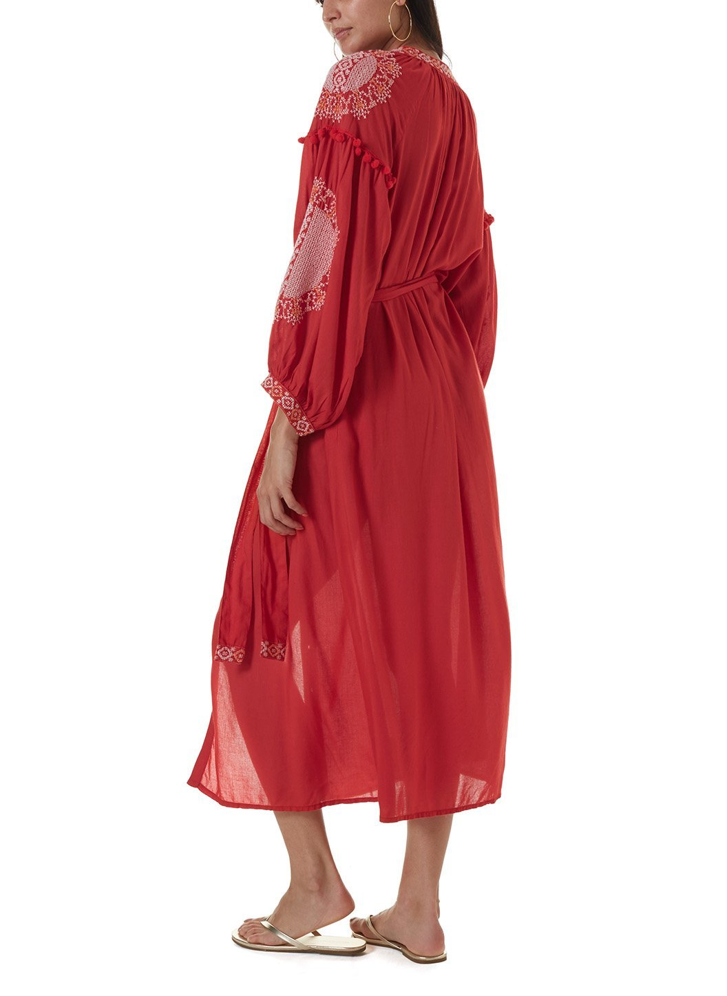 iyla red white long kaftan