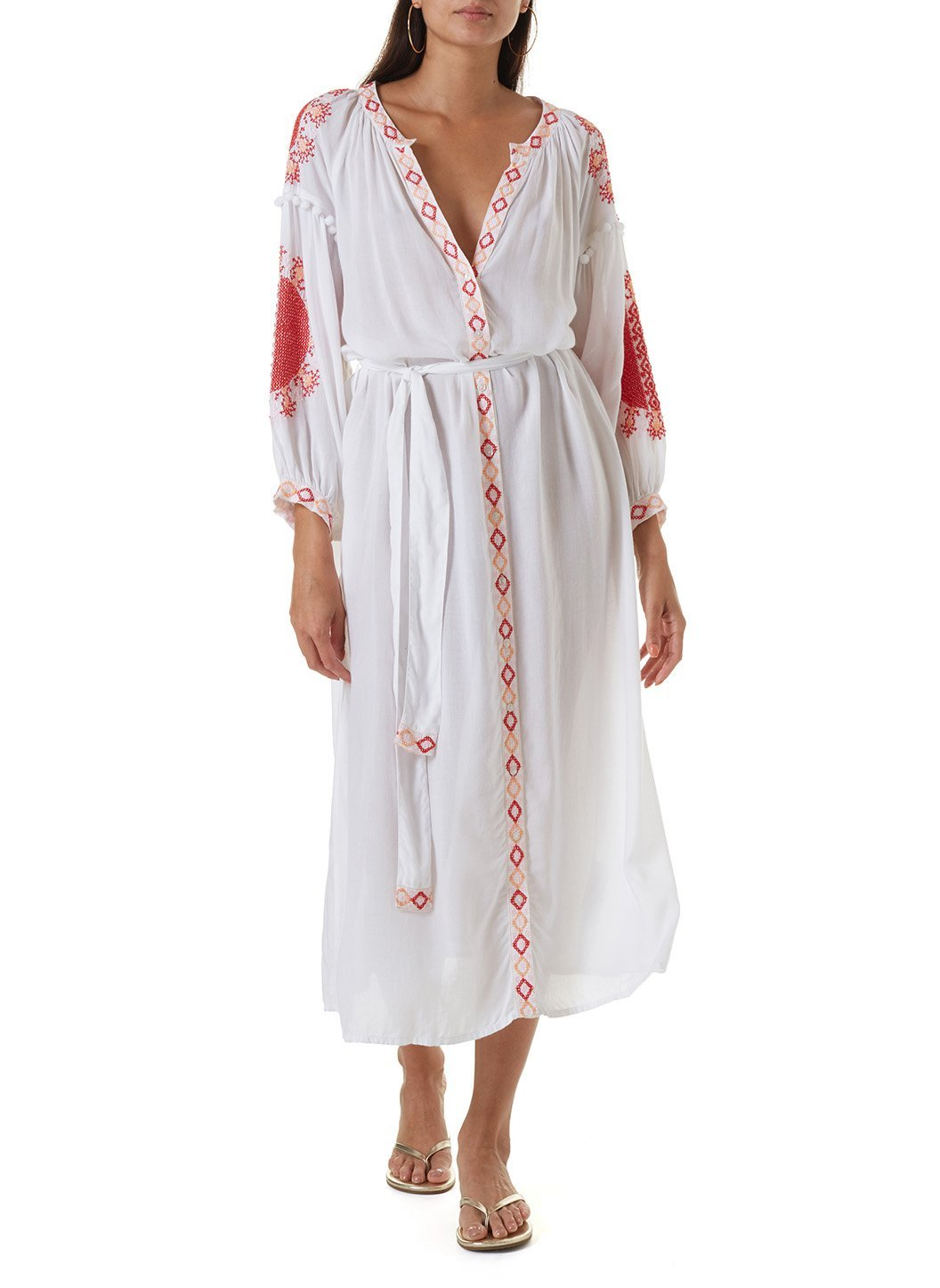 iyla white red long kaftan