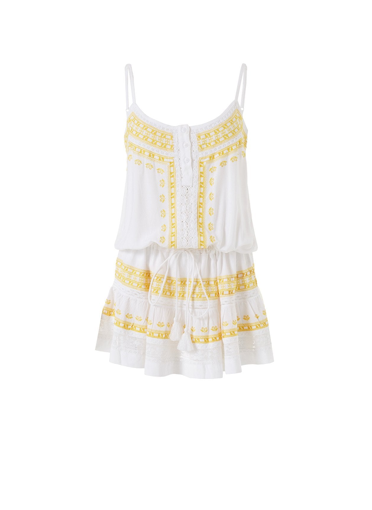 Karen White/Yellow Embroidered Over The Shoulder Short Dress 2020