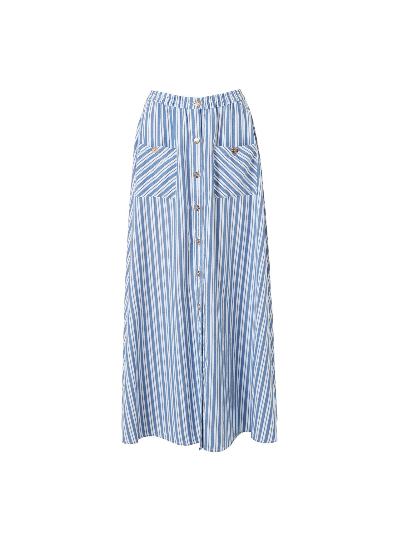 Kelly Blue Stripe Button Down Maxi Skirt 2020