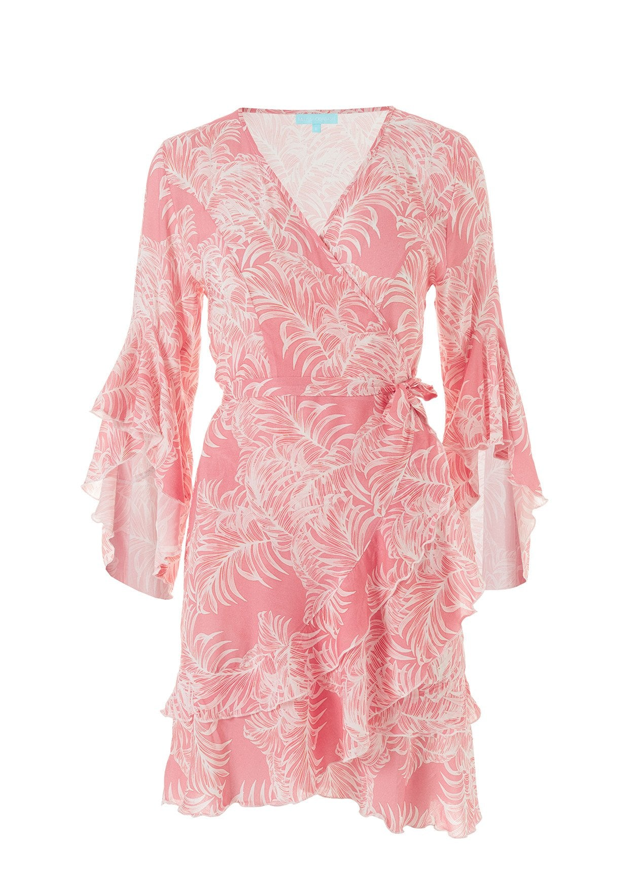 Kirsty Tropical Coral Short Wrap Dress 2020