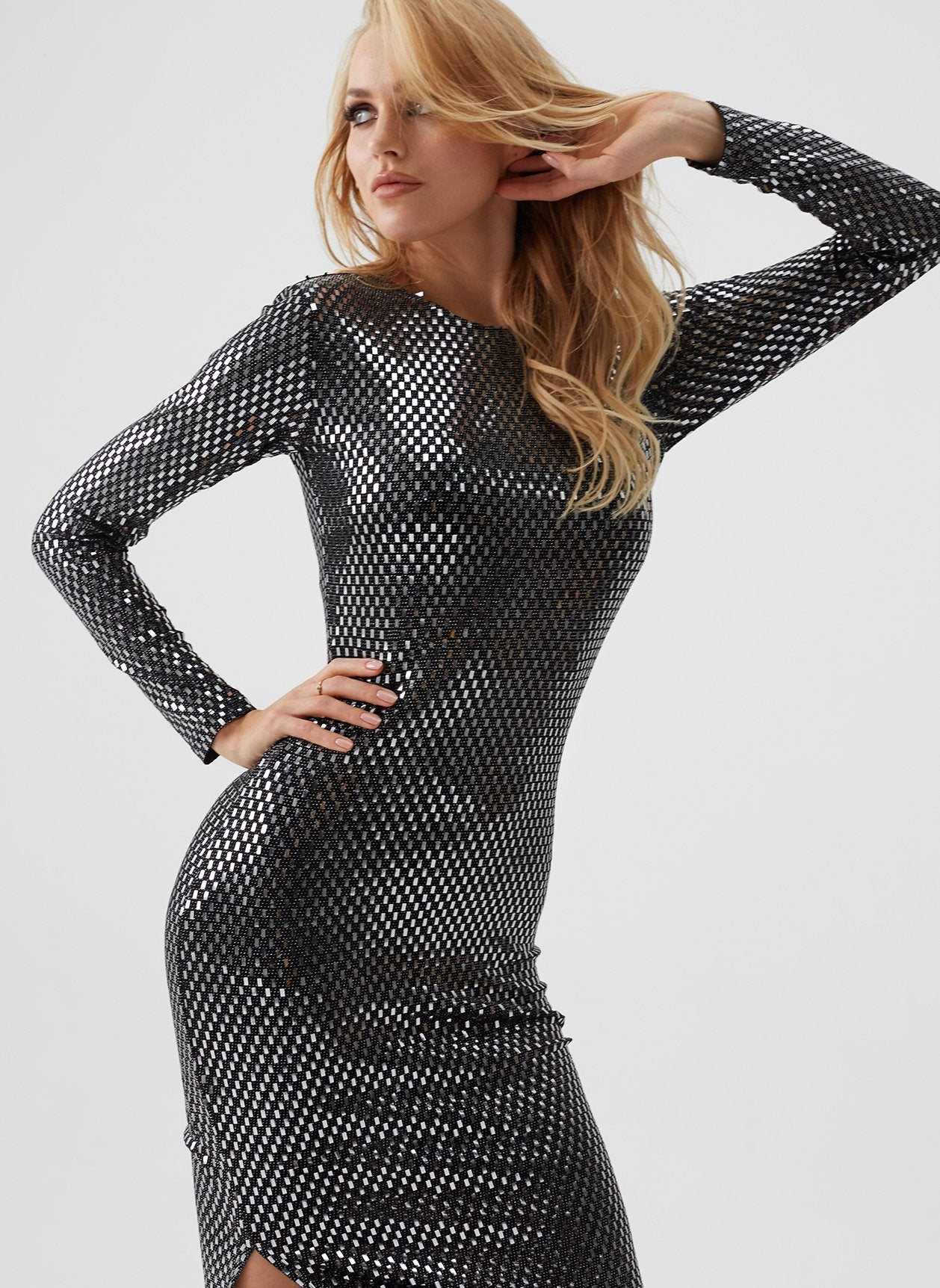 Lang Silver Check Midi Dress