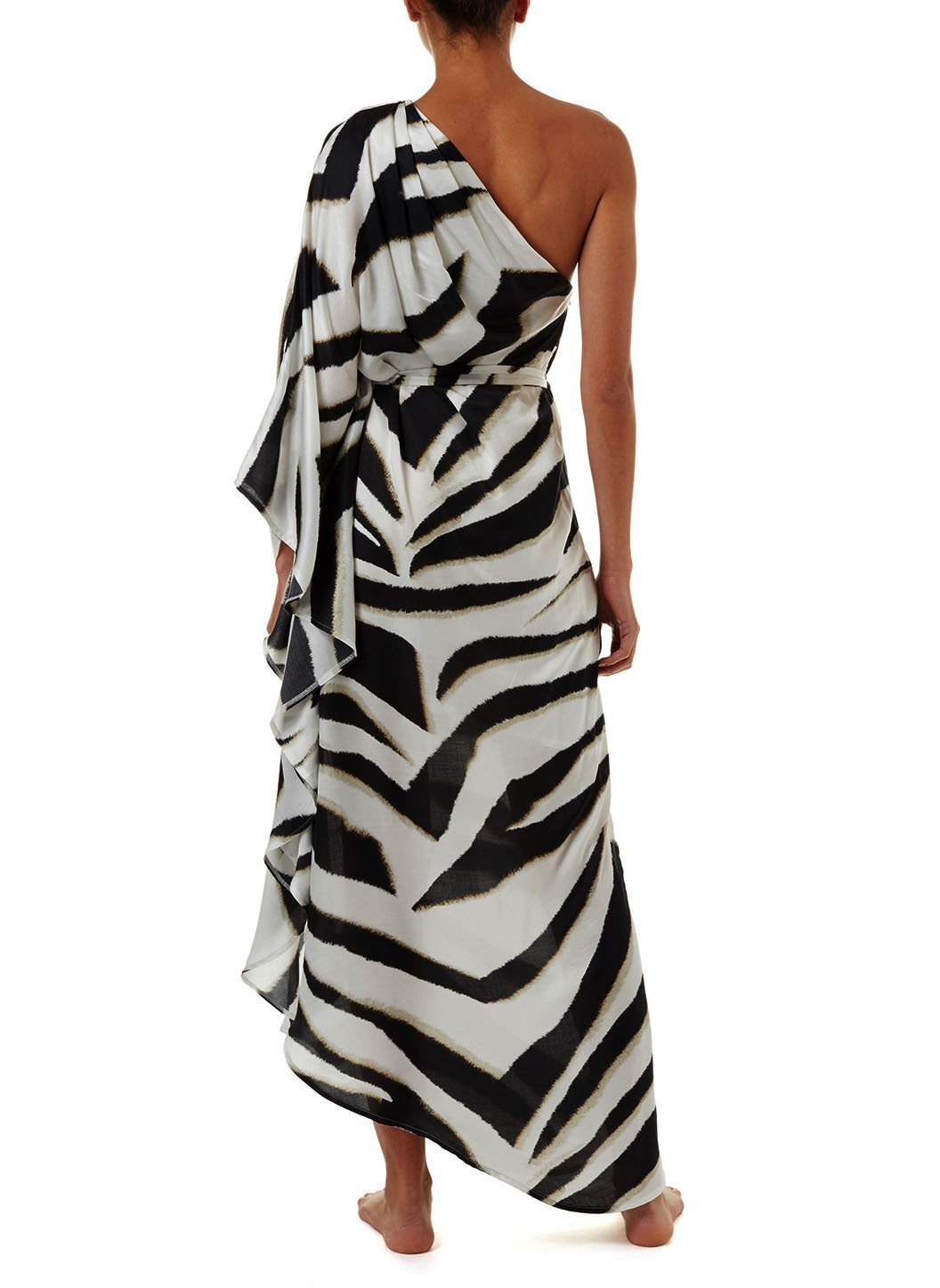 lauren zebra oneshoulder belted floor length dress 2019 B