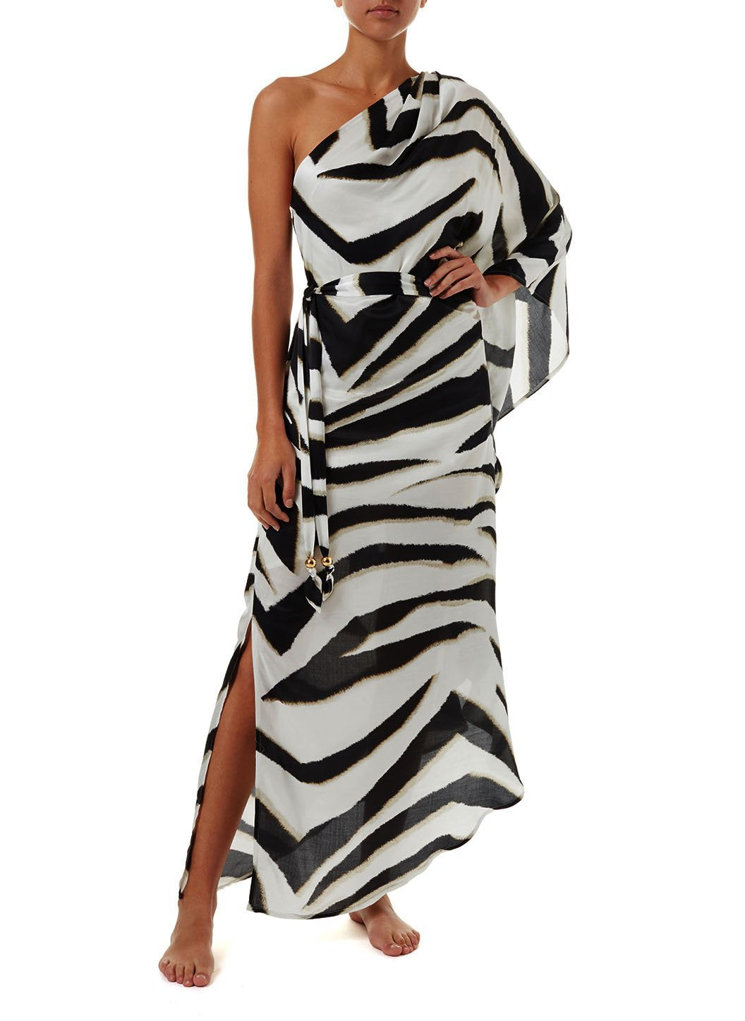lauren zebra oneshoulder belted floor length dress 2019 F