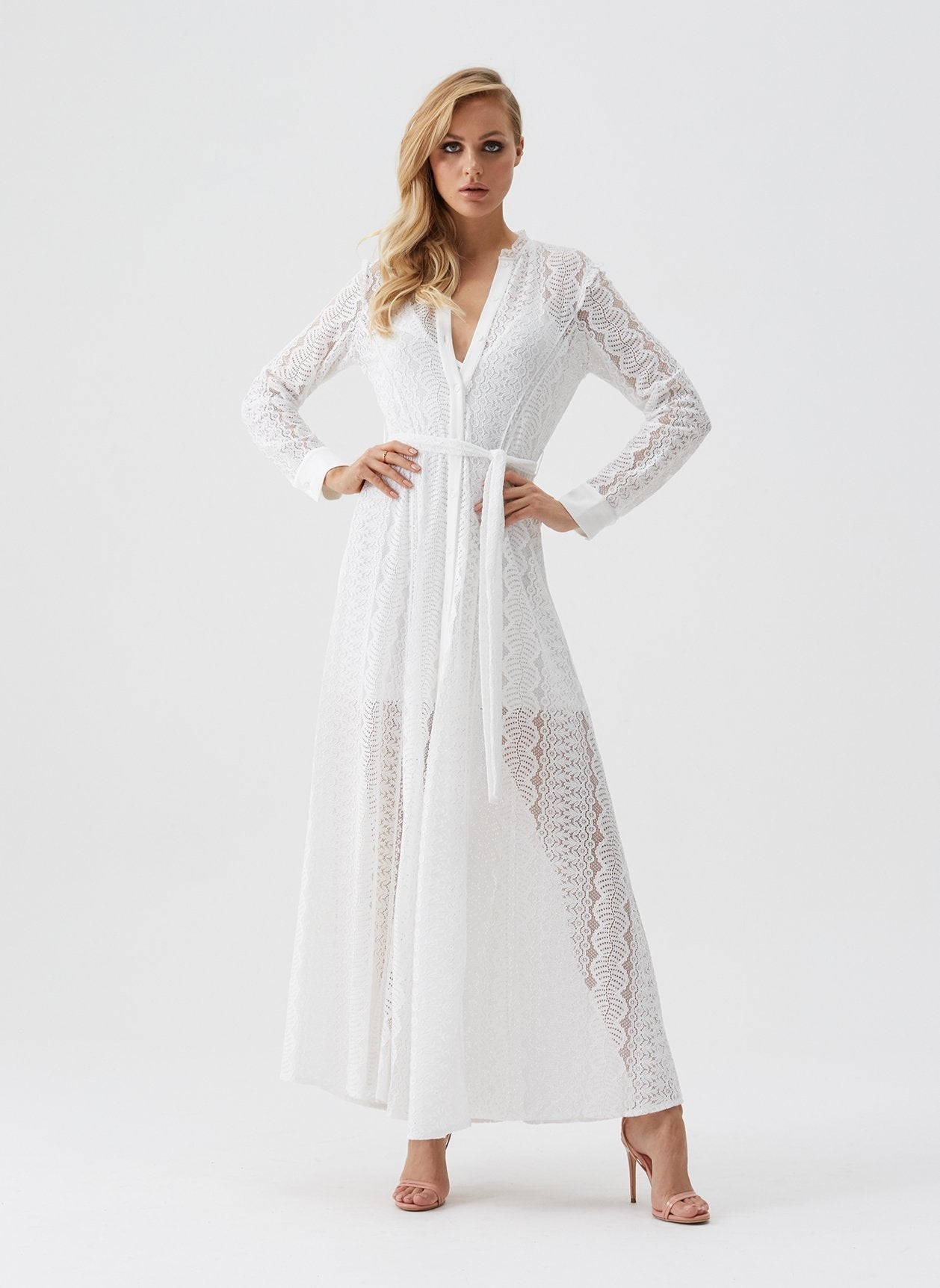 Leila White Lace Shirt Maxi Dress