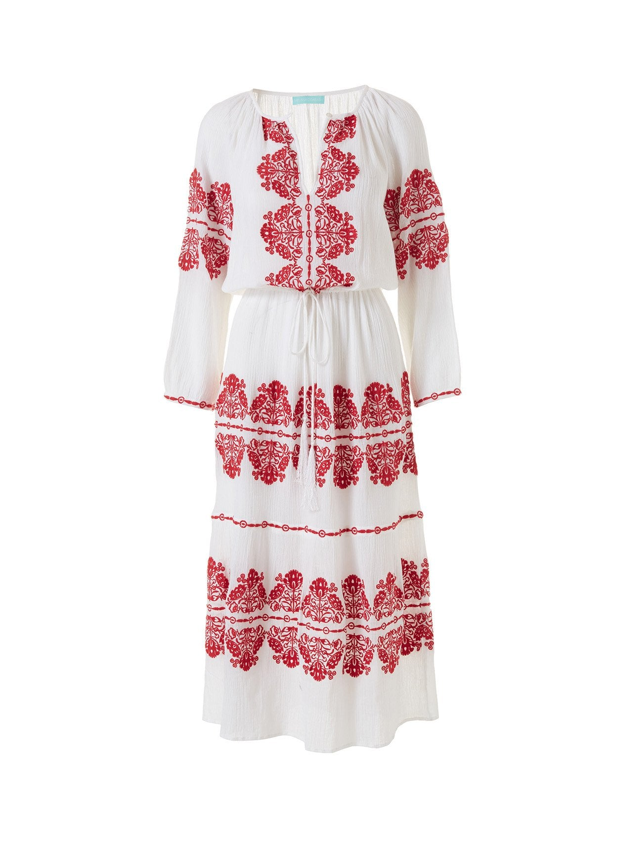 Lela White/Red Long Kaftan