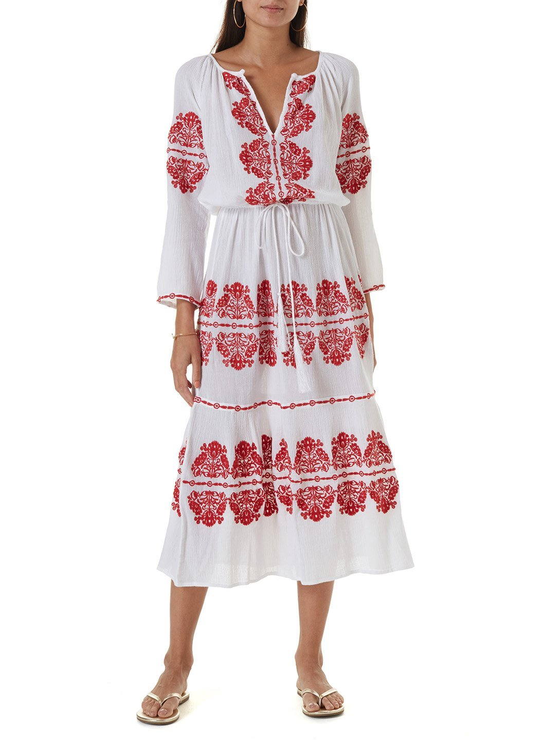 lela white red long kaftan
