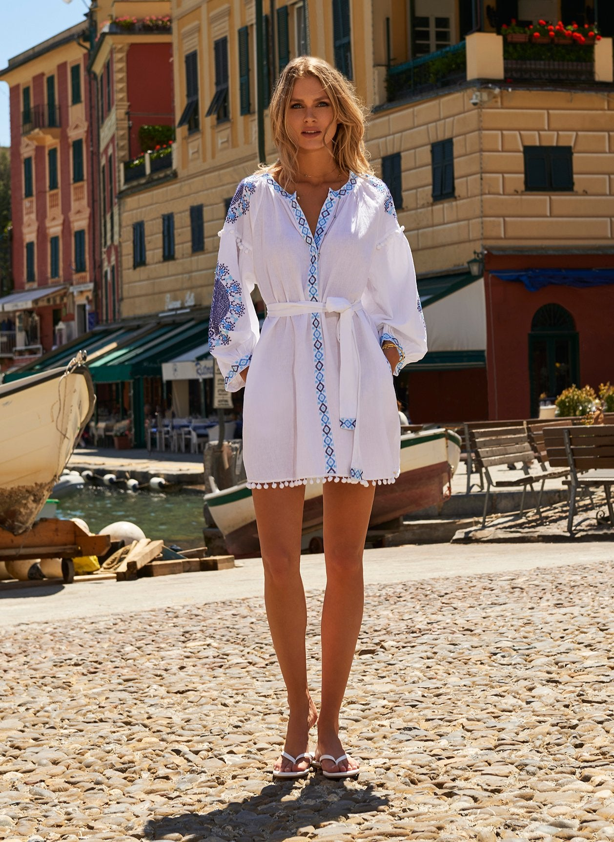 Eliza White/Blue Short Kaftan