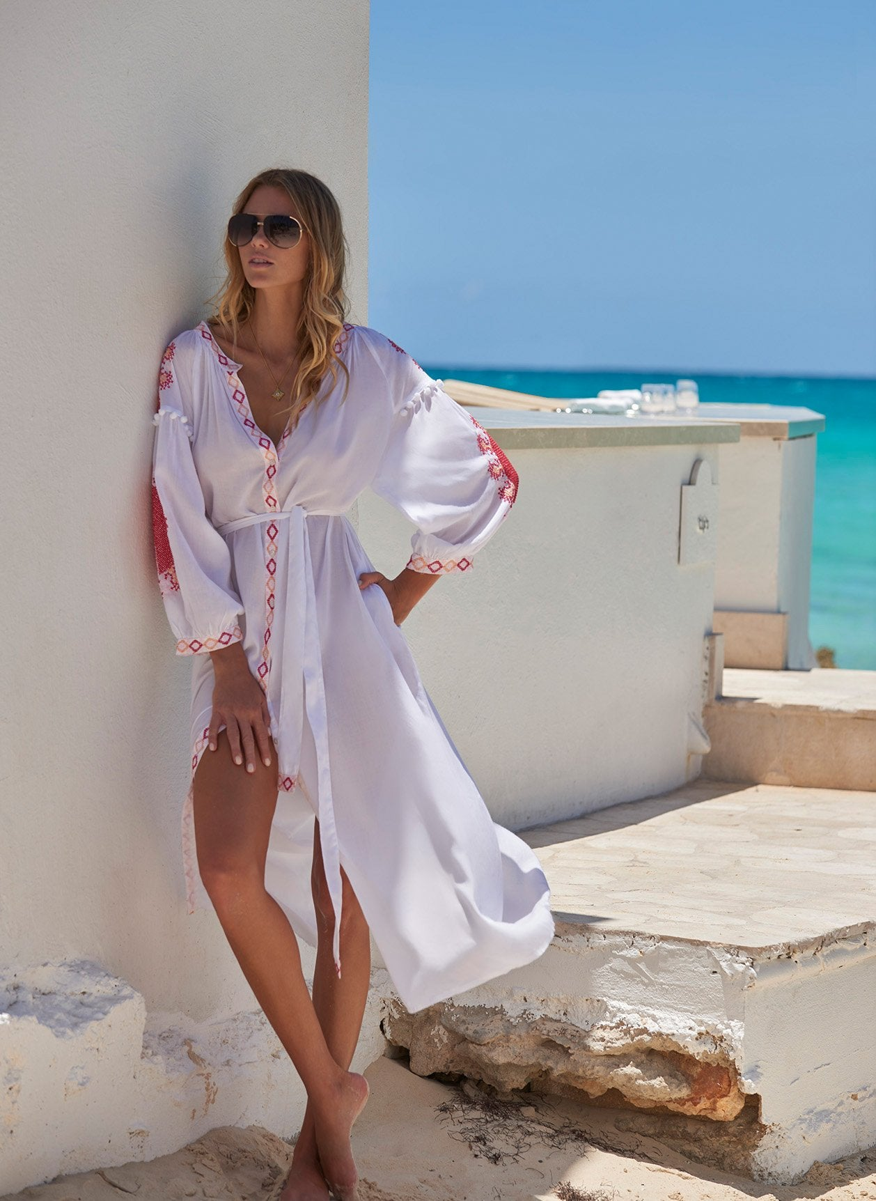 Iyla White/Red Long Kaftan