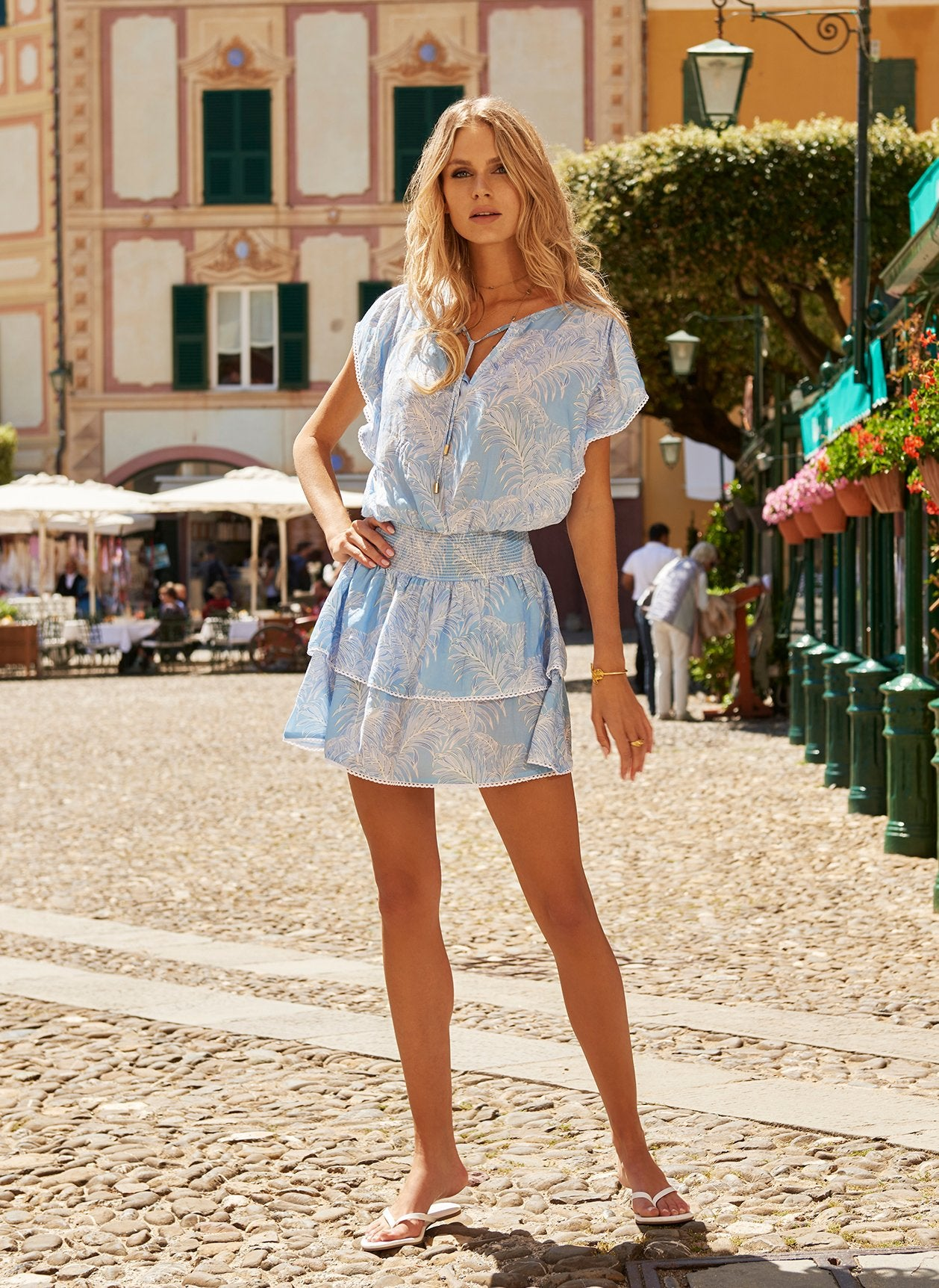 Keri Tropical Blue Frill Short Dress 2020